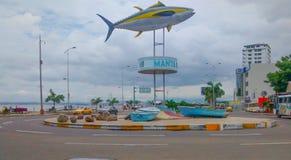 Tuna Monument dans le Manta, Equateur Images libres de droits