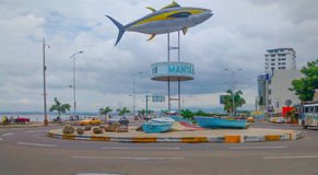 Tuna Monument i Manta, Ecuador Royaltyfria Bilder