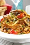 Tuna and Mushroom Linguine stock photo