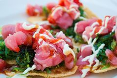 Tuna Nachos. Fresh Yellowfin Tuna Nachos with Seaweed Royalty Free Stock Photo