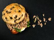 Tuna Nicoise Salad In a Focaccia Bread Bun Stock Photography
