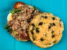 Tuna Nicoise Salad In a Focaccia Bread Bun Stock Photos