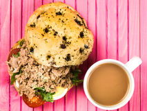 Tuna Nicoise Salad In a Focaccia Bread Bun Stock Image