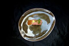 Tuna Nigiri on a Ceramic Plate Royalty Free Stock Images