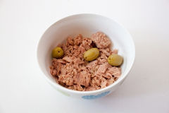 Tuna with olives. In a bowl Royalty Free Stock Photography