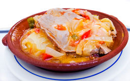 Tuna with onions stew Tavira style, Algarve. Portugal. Stock Photos