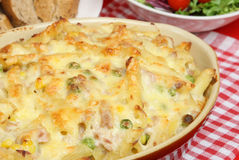 Tuna Pasta Bake. Rigatoni pasta with tuna in a cheese sauce Royalty Free Stock Photo