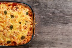 Tuna Pasta Bake with cheese and tomatoes. view from top Royalty Free Stock Image
