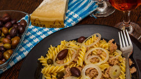 Tuna pasta. A Mediterranean easy cooking meal of pasta and tuna stock photos