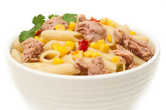 Tuna and pasta salad isolated Stock Image