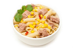 Tuna and pasta salad isolated Royalty Free Stock Photography