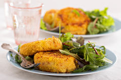 Tuna patties with potato and corn. Served with salad Royalty Free Stock Images