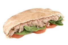 Tuna pita. Tuna with spinach and tomato in a whole wheat pita (with clipping path Royalty Free Stock Photography