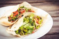 Tuna pita sandwich. Tuna salad pita sandwich closeup dish stock photos