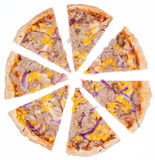 Tuna Pizza (over white) Stock Photography