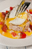 Tuna with poached egg and cherry tomato Salsa Stock Images