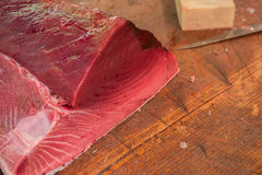 Tuna raw sliced fish store at Tsukiji sea food market Stock Images