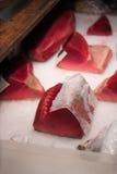 Tuna raw sliced fish store at Tsukiji sea food market Stock Image