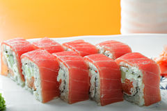 Tuna roll closeup Stock Photo