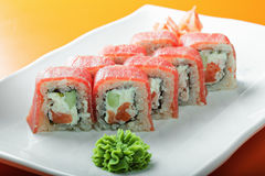 Tuna roll on a plate closeup Royalty Free Stock Images