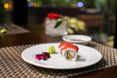 Tuna roll. S on the white plate Stock Image