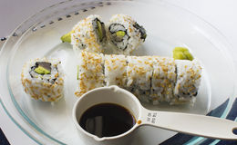 Tuna Roll Sushi. Freshly Made Tuna Roll sprinkled in sesame seeds. Homemade Royalty Free Stock Photos