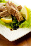 Tuna with salad. Marinated on olive oil and balsamic vinegar Royalty Free Stock Image