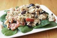 Tuna Salad. With olives and tomatoes Royalty Free Stock Images