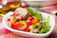 Tuna salad. With corn, pepper, green peas and carrot Royalty Free Stock Images
