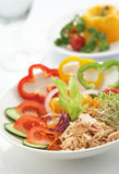 Tuna salad. Elegant look tuna salad on white back ground, swallow depth of field Stock Photo