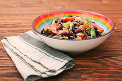 Tuna salad with beans and cherry tomatoes Stock Photos