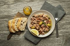 Tuna salad with olives and capers Stock Photography