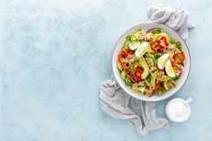 Tuna salad with boiled egg and fresh vegetables. Healthy diet food. Greek cuisine. Top view royalty free stock photos