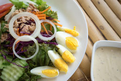 Tuna salad with boiled egg in white dish Royalty Free Stock Photos