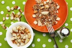 Tuna salad with bread croutons Stock Image