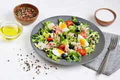 Tuna Salad Cabbage Arugula Oil Pepper Tomatoes Cherry Eggs Stock Photos