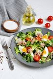 Tuna Salad Cabbage Arugula Oil Pepper Tomatoes Cherry Eggs stock image