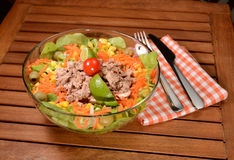 Tuna salad. With carrots,olives,onion,lettuce,lime and tomato Stock Photo