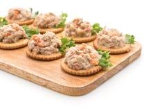 Tuna salad with cracker. On white background stock image