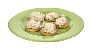 Tuna salad on crackers Royalty Free Stock Photos