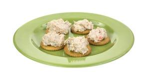 Tuna salad on crackers Royalty Free Stock Photos