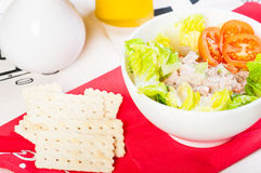 Tuna salad with crackers Stock Photo
