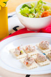 Tuna salad on crackers. For appetisers Royalty Free Stock Photo