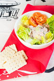 Tuna salad with crackers Stock Images