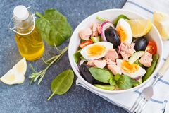 Tuna salad with egg, olives and spinach.