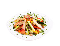 Tuna salad isolated on white Royalty Free Stock Image