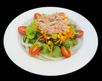 Tuna salad with lettuce and tomatoes isolated on the black background with clipping path. Tuna salad with lettuce and tomatoes isolated on the black background Stock Photography