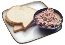 Tuna Salad Lunch with Bread Stock Photo