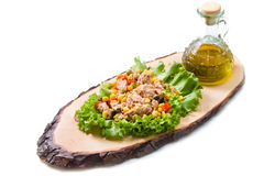Tuna salad with mais on wood board Royalty Free Stock Photography