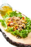 Tuna salad with mais on wood board Royalty Free Stock Images